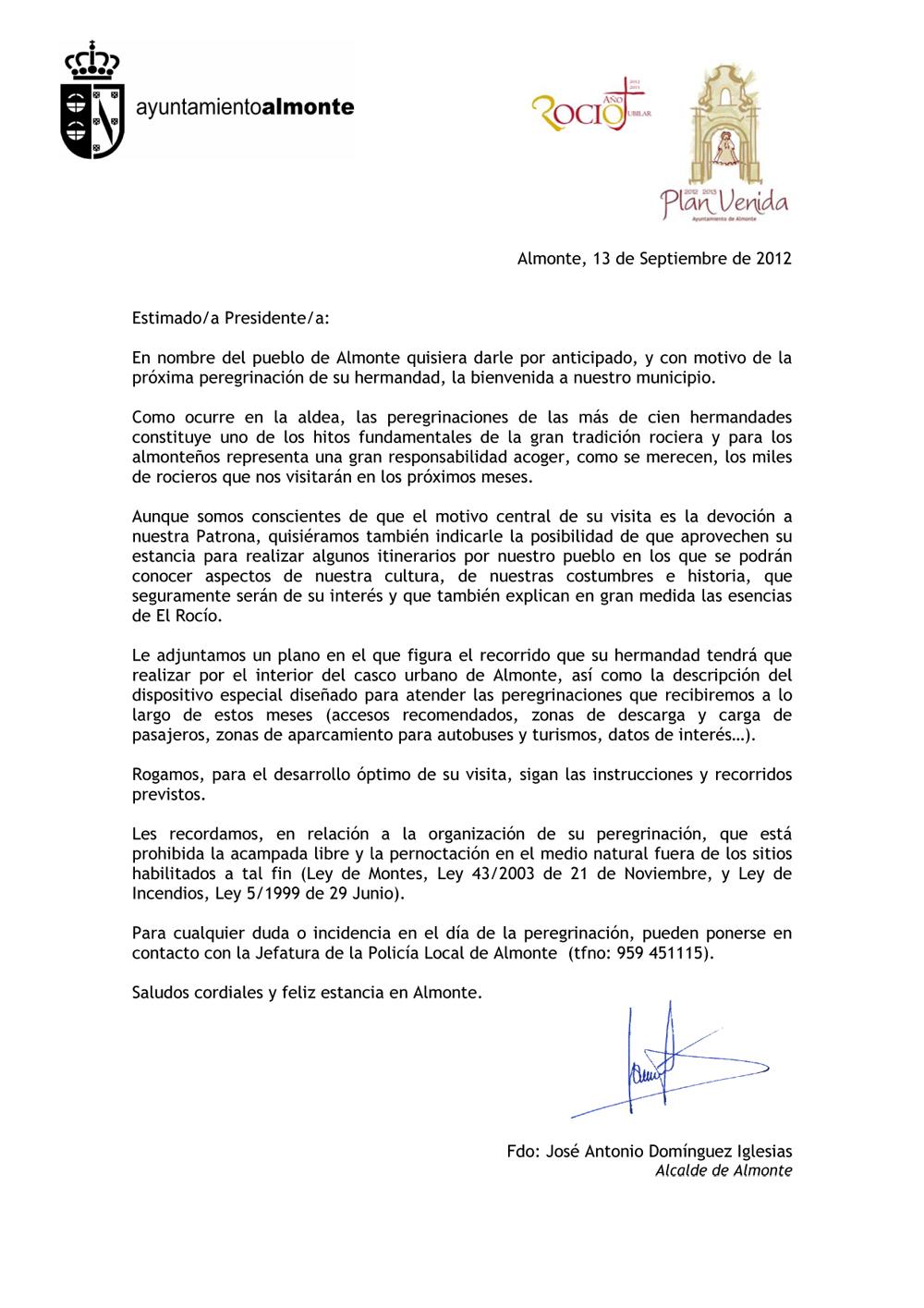 Hermandad Del Rocío De Jerez Carta De Bienvenida Del Excmo